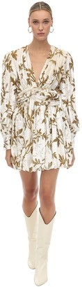 Dodo Bar Or Draped Velvet Jacquard Mini Dress