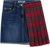 Sjyp Denim Skirt with Pleated Tartan Panel