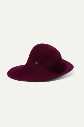Philip Treacy Embellished Wool-felt Hat - Burgundy