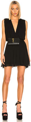 Saint Laurent Drape Dress in Black   FWRD