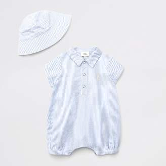 River Island Baby blue stripe polo baby grow outfit