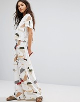 NATIVE YOUTH Wide Leg Pants In Abstract Print Co-Ord