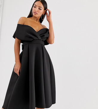 Asos Tall DESIGN Tall fallen shoulder midi prom dress with tie detail-Black