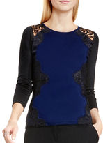 Vince Camuto Petite Lace-Accented Knit Sweater