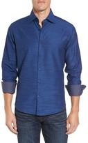 Stone Rose Men's Slim Fit Melange Textured Sport Shirt