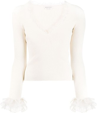 Alexander McQueen lace details knitted jumper