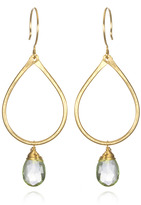 Nashelle Green Amethyst Gold Dangle Earrings