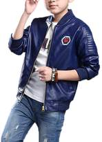 Monvecle Big Boy's Trendy Stand-Collar PU Leather Moto Jacket Coat 8-9 Years