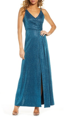 Morgan & Co. Shimmer Wrap Front Gown