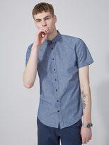 Frank + Oak The Short-Sleeve Odessa Chambray Shirt in Blue