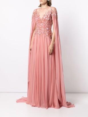 ZUHAIR MURAD Embellished Flyaway Chiffon Cape Gown
