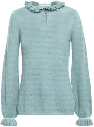 Goat Halima Ruffle-trimmed Pointelle-knit Sweater