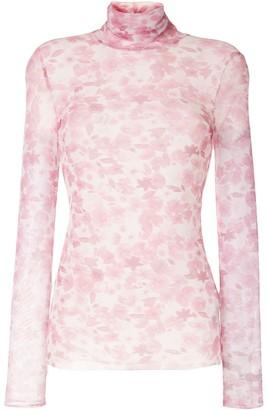 Ganni Sheer Floral-Print Roll-Neck Top