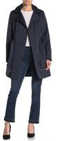 BCBGMAXAZRIA Missy Asymmetrical Front Zip Waist Belt Hooded Jacket