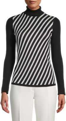Anne Klein Bias Stripe Turtleneck Sweater