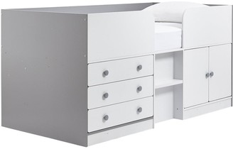 Peyton Kids Cabin Bed with Drawers, Cupboard and Mattress Options (Buy and SAVE!) - White/Grey