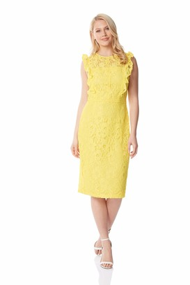 Roman Originals Women Lace Ruffle Dress - Ladies Evening Wedding Guest Mother of The Bride/Groom Special Occasion Race Day Formal Smart Dinner Summer Knee Length - Yellow - Size 14