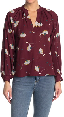 Lush Printed V-Neck Blouse