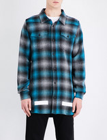 Off-White Checked regular-fit brushed-cotton shirt