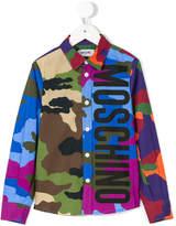 Moschino Kids logo print camouflage shirt