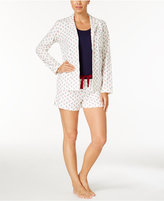 Nautica 3-Piece Button Front Shirt, Tank Top and Shorts Pajama Set