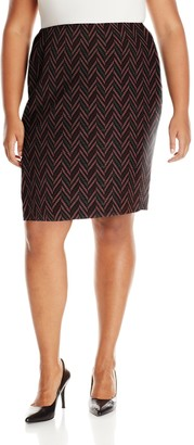 Kasper Women's Plus Size Zig Zag Jacquard Slim Skirt