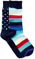 Happy Socks Dots & Stripes Crew Socks - Pack of 2