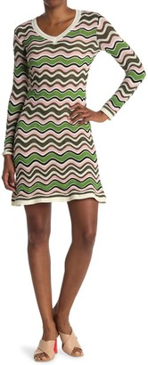 M Missoni Wave Print V-Neck Dress
