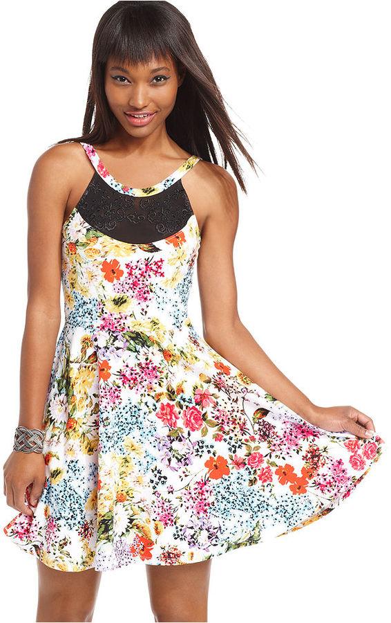Material Girl Juniors Dress, Sleeveless Floral-Print Mesh A-Line