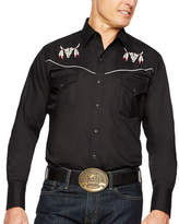 Ely Cattleman Long Sleeve Snap-Front Bull Skull Embroidered Western Shirt