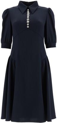 Prada Button Embellished Flared Dress