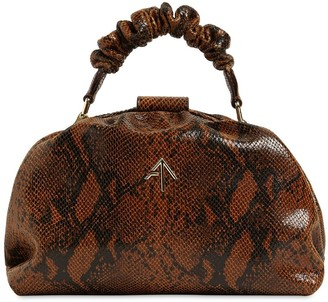 MANU Atelier Ruched Demi Snake Print Leather Bag