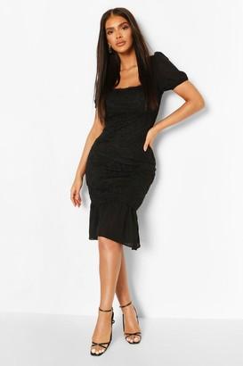 boohoo Lace Frill Hem Bodycon Midi Dress