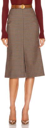 Victoria Beckham Fitted Box Pleat Midi Skirt in Black & Orange | FWRD