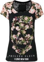 Philipp Plein floral sklll print T-shirt