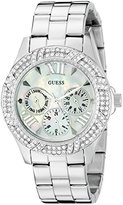 GUESS Women's U0632L1 Sporty Silver-Tone Watch with MOP Dial , Crystal-Accented Bezel and Stainless Steel Pilot Buckle