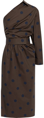Max Mara Angolo One-shoulder Polka-dot Cotton-poplin Midi Dress