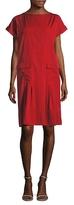 Oscar de la Renta Cotton Boatneck Pleated Shift Dress