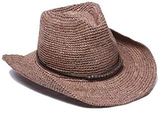 Ale By Alessandra Womens Cassidy Raffia Cowboy Hat with Beaded Trim and Memory Wire Brim Cowboy Hat - Brown