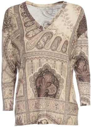 Etro Jersey V Neck Barb Sweater