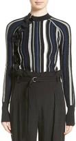 3.1 Phillip Lim Women's Zipper Detail Stripe Ruffle Pullover