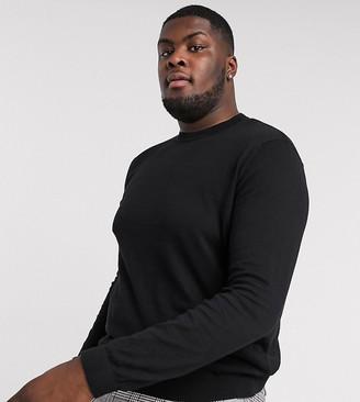 ASOS DESIGN Plus crew neck cotton sweater in black