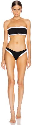 Hunza G Tracey Frill Bikini in Black & White   FWRD