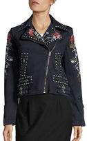 True Religion Studded Floral Denim Jacket