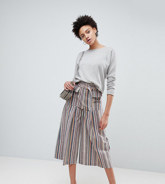 Asos Design DESIGN wide leg soft trousers with pleats in stripe-Multi