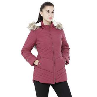 Studio 99 Women Fur Hood Puffer Jacket - Quilted Padded Insulated Water Resistant Nylon Coat