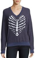 Wildfox Couture Skeletal Heart Long Sleeve Knit Top