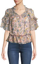 KENDALL + KYLIE Floral Ruffled V-Neck Blouse