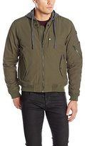 Ben Sherman Men's Bomber Jacket with French Terry Hood, Olive, M