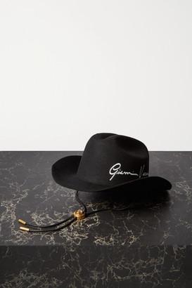 Versace Embroidered Wool-felt Fedora - Black